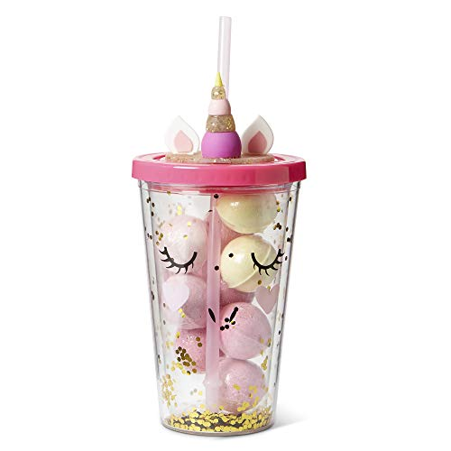 Mini Bath Bombs Tumbler Gift Set: Tri-Coastal Design Juicy Couture Fizzy Bath Bombs for Kids - Includes Reusable Plastic Spill-Proof Unicorn Insulated Plastic Tumbler With Lid & Straw - Double ()