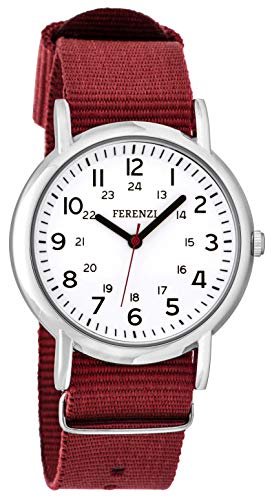 FERENZI Unisex | Casual Silver-Tone and Burgundy Canvas Strap Big Number Watch | FZ20004