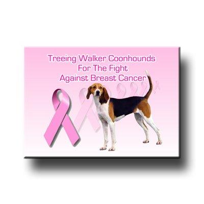 Treeing Walker Coonhound Breast Cancer Support Fridge Magnet No 1