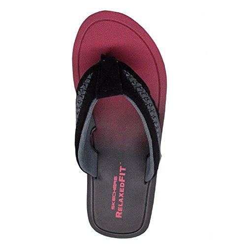 Skechers Go Casual para hombre negro rojo sintético sandalias slip en sandalias zapatos