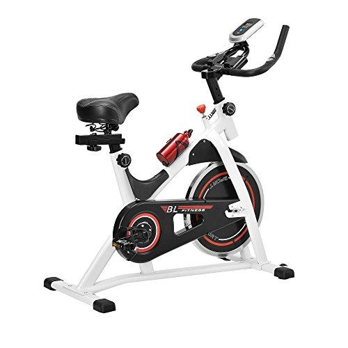 🥇 [in.tec] Bicicleta estática/Indoor Cycling – Blanca – Ejercicio en casa – Fitness – Spinning