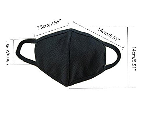 YYaaloa 2pcs Reusable Cotton Mouth Mask Black Anti Dust Face Mask for Men and Women for Outdoor Half Face Masks (2pcs Black)