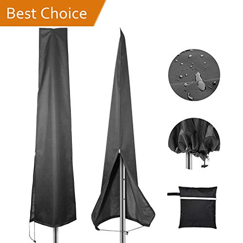 Patio Umbrella Covers, Waterproof Market Parasol Covers with Zipper for 7ft to 11ft Outdoor Umbrellas Large Black. ()