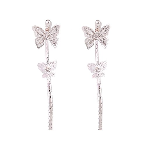 Grace Jun Bridal Rhinestone Double Butterfly Clip on Earrings Non Piercing for Women Large Statement Earrings (silver ear ()