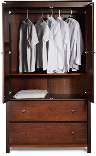 (LA&PH Rustic Bedroom Armoire Closet Combo Chest Grain Wood Furniture Shaker 2-Door 2 Drawer Solid Wood Cherry Finish - 41x72x22)