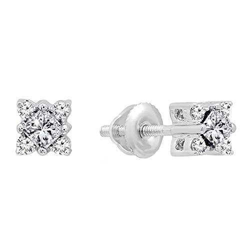 Ctw Diamond Tanzanite Gold Jewelry - Dazzlingrock Collection 0.35 Carat (ctw) 14K Princess Tanzanite & Round Diamond Ladies Square Stud Earrings, White Gold
