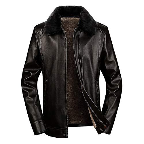 JiaMeng Abrigos de Cuero de Cuello Redondo de Moda de Lana de Abrigo de Invierno Largo Abrigo para Hombre Casual Chaqueta Jacket: Amazon.es: Ropa y ...