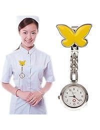 Tangyongjiao Relojes fashionalbe Reloj de Pulsera de Cuarzo Redondo Estilo Mariposa de aleación de Enfermera portátil con Pin