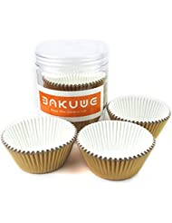 Xlloest Premium Foil Paper Baking Cups, Cupcake Liners Paper - Gold, Pack of 200
