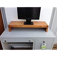 TV/Monitor Riser Stand Modern Style in Solid Clean Pine Wood (38W x 12D x 7H, Coffee)