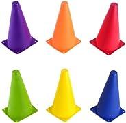 Crown Sporting Goods Set of 6, 9-Inch Sport Cones in Vivid Colored Vinyl