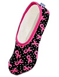 Snoozies Womens Skinnies Breast Cancer Lightweight Fleece Slippers