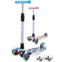 Yuppy Kick Scooter For Kids 3 Wheel Lean To Turn Adjustable Height PU ABEC-7 Light Up Wheels For 3-10 Year Old