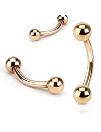 1 Piece Rose Gold Plated Surgical Steel Ball Curved Barbell / Eyebrow Ring - 16g or 14g