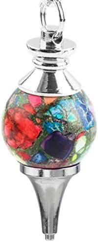 SUNYIK Stone Ball Pendulum Reiki Healing Chakra Point Dowsing Metaphysical Tool With Chain