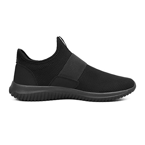 Feetmat Mens Workout Shoes Slip On Laceless Tennis Running Sneakers Non Slip Gym Walking Shoes Black 9.5