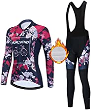 Womens Winter Cycling Jersey Set Outdoor Bicycle Sportswear Long Sleeve Thermal Bike Clothing Suits