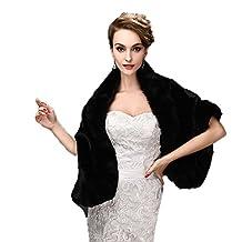 Yxjdress Women Warm Faux Fur Shawl Cape Wrap Winter Jacket For Wedding Dress