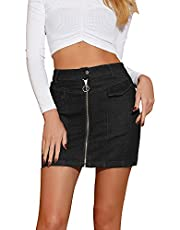 Allegra K Women's Denim Skirts Zip Front Slim Fit High Waist Mini Jean Skirt