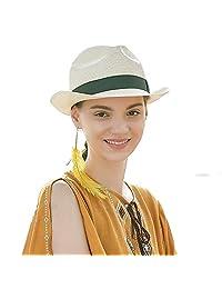 Sedancasesa Unisex Summer Straw Fedora Hat Short Brim Trilby Gangster Sun Hats Beige