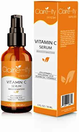 Claire-ity 25% Vitamin C Serum with Hyaluronic Acid and Vitamin E, Organic Topical Anti-Aging Moisturizing Facial Serum for Face, Neck & Décolleté(1 fl. oz)