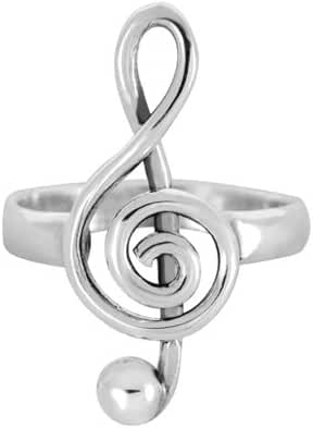925 Sterling Silver Treble G-Clef Musician Ring - Nickel Free