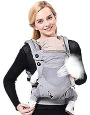 Anpassa bärselar fram och bak med huva och justerbar höftstol – alla årstider bomull bärsele wrap multi-position spädbarn omvårdnad för nyfödda till småbarn upp till 44 kg/20 kg