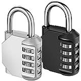 KeeKit Combination Lock, 4 Digit Combination Padlock, Waterproof Gate Lock, Resettable Combo Lock for Locker, Gym, Cases, Toolbox, School, 2 Pack - Silver & Black