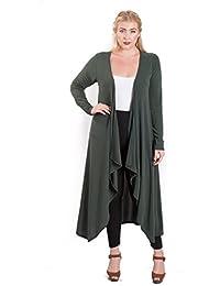 Women's Plus Size Long Drape Front Open Cardigan