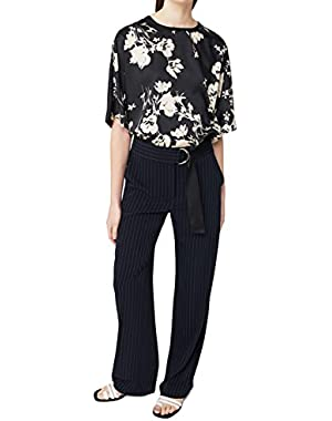 Mango Women's Floral Satin Blouse