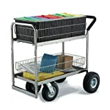Charnstrom Medium Wire Basket Mail Cart with Caster