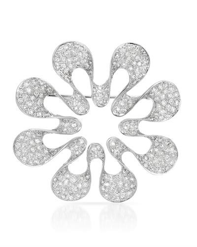 (18K White Gold Round Brooch (2.84 ctw, H-I Color, I2-I3 Clarity))