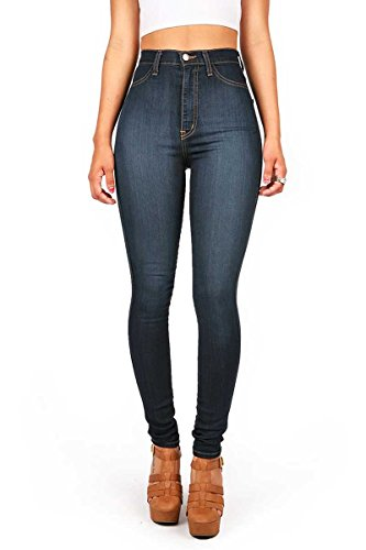 Vibrant Womens Classic High Waist Denim Skinny Jeans Dark Denim 1XL (Best Rated Skinny Jeans)