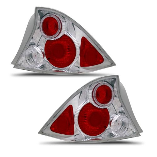 - SPPC 2 Door Chrome Taillights Assembly Set with Halo for Honda Civic - (Pair) Driver Left and Passenger Right Side Replacement