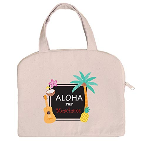 Personalized Custom Text Aloha Cotton Canvas Tablet Bag Case Handles -