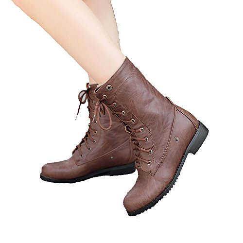 ShoeN Tale Womens Faux Leather Wide Calf Knee-High Riding Boot Lace Up Winter Shoes Brown