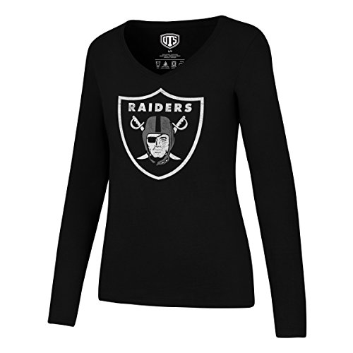 (NFL Oakland Raiders Women's Ots Rival Long sleeve Distressed Tee, Medium, Jet Black)