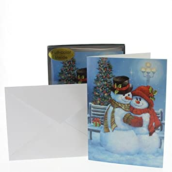 Bergeron Christmas Cards.Snow Couple At Bench With Glitter Accents Lpg Sandy Bergeron Snowman Box Of 14 Christmas Cards