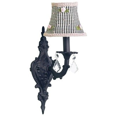 Jubilee Collection 820007-2255 1 Arm Black Check with Pink Rosebud Chandelier Shade on Wall Sconce with Black - Pink Shade Chandelier Rosebuds