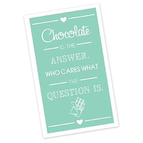 (DII Design Imports Kitchen Towel Chocolate Is the Answer. Who Cares What the Question Is. Hanging Loop Flour Sack Chocolate Printed Dishtowel. 18 X 28. 100% Cotton. Machine Wash)