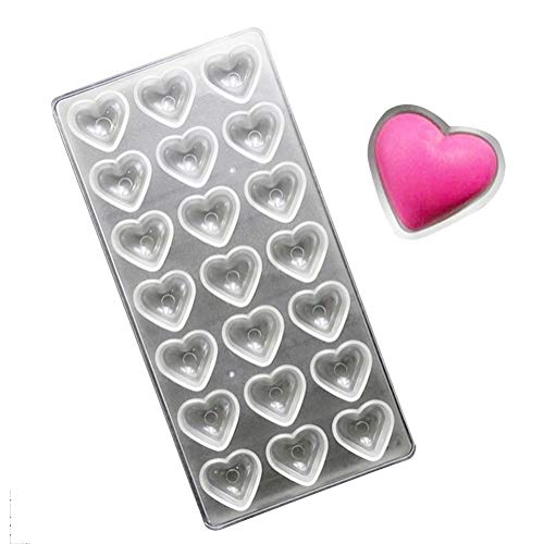 (KALAIEN Pillow Heart Polycarbonate Chocolate Mould PC Moulds 21 Hearts Shaped Jelly Candy Making Mould)