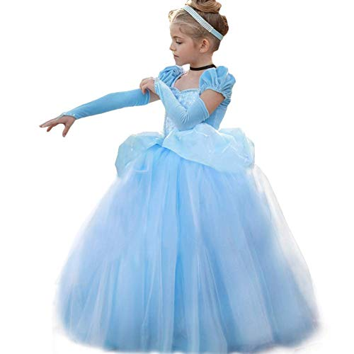 Romy's Collection Princess Cinderella Special Edition Blue Party Deluxe Costume Dress (Dress Only, 6-7)]()