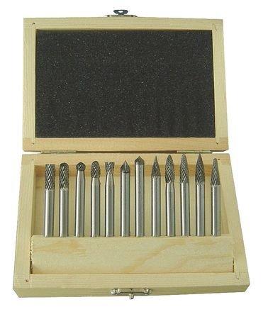 Westward 2LYR6 Carbide Bur Set, Dbl Cut, 1/4 In, 12 Pcs