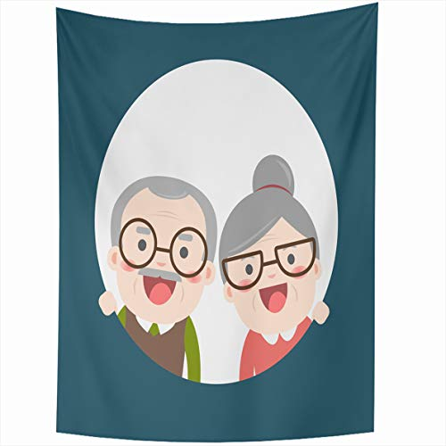 Ahawoso Tapestry 50x60 Inches Retired Elderly Senior Age Couple Vintage Creative Flat Character Grandpa Grandma Wall Hanging Home Decor Tapestries for Living Room Bedroom Dorm (Best Small Travel Trailer For Retired Couple)