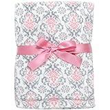 Baby Gear Plush Velboa Ultra Soft Baby Girls Blanket 30 x 40, Pink Grey Demask
