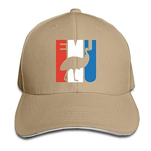 Mens Womens Fashion Ball Baseball Caps Sandwich Retro Emu Silhouette Cotton Snapback -