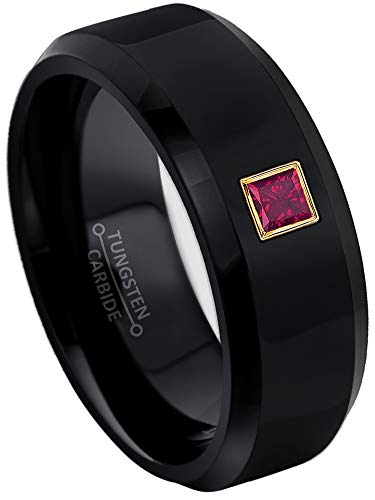 0.10ctw Solitaire Princess Cut Ruby Tungsten Ring - 8MM Polished Beveled Edge Black Tungsten Carbide Wedding Band - July Birthstone Ring - s11 ()