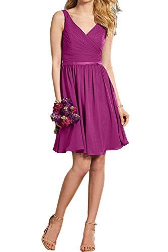 Neck Neu Fuchsia Ivydressing Chiffon Band 2017 V Abschlusskleider Violett Kurz Partykleider Cocktailkleider Falte Suess Abendkleider 006F5wxq