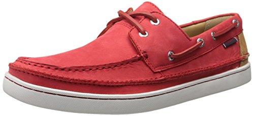 Sebago Men's Ryde Two Eye Oxford, Red Nubuck/Tan Leather, 8.5 M US (Tan Sebago Shoes)
