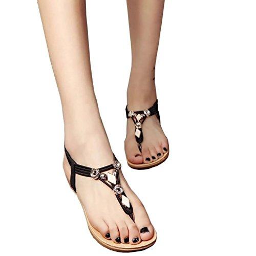 New Womens 4' Heel (Hemlock Women Girl's Bohemia Sandals Peep-Toe Flat Sandals Shoes (US:8.5, Black))